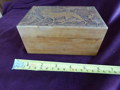 Arts and Crafts Wooden Box - Carved Wolf in Forest