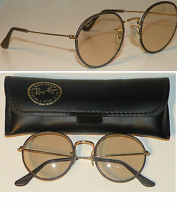 Ray Ban B&L USA GOLD ROUND LEATHERS CHANGEABLE BROWN LENSES Vintage Sunglasses!