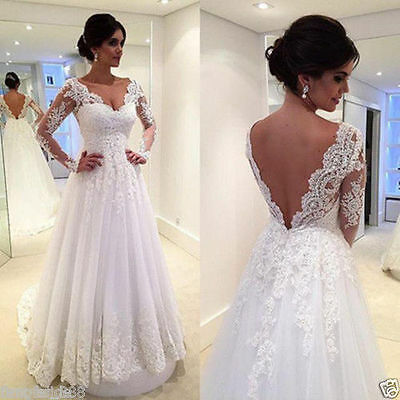 New White/ivory Lace Wedding dress Bridal Gown custom size 4 6-8-10-12-14-16 18+