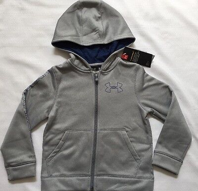 Under Armour STORM Boys XS Extra Small Hoodie Gray Navy Blue Full Zip