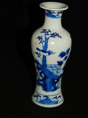 Antique 18th century Kangxi Chinese blue and white small baluster pottery vase