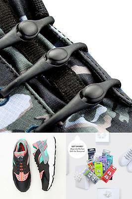 No Tie Elastic Shoelace Lock Laces Shoe Strings Locking Toggle All Shoes Unisex