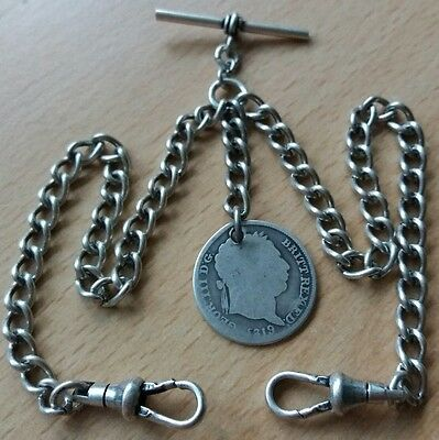 1819 Shilling Coin Fob Antique Silver Style Double Pocket Watch Chain