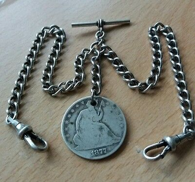 1877 Usa Half Dollar Coin Fob Antique Silver Style Double Pocket Watch Chain