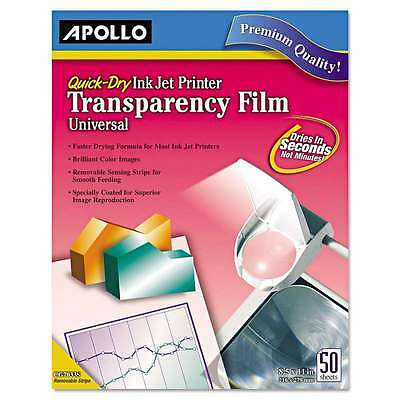 Apollo® Quick-Dry Color Inkjet Transparency Film, Letter, Clear, 5 718575090806