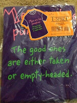 Hallmark T Shirt -Men Are Like Pumpkins...... XL, one size scares all -New