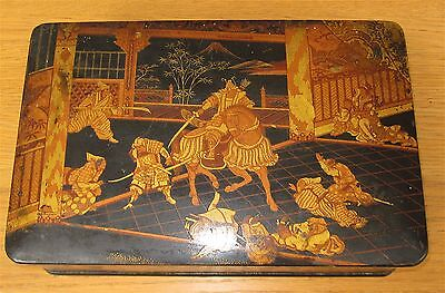 Antique Japanese Gold & Black Lacquered Hand Painted Battle Scene Box