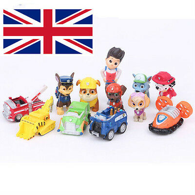 New 12pcs Paw Patrol Toys Action Figures Plastic Puppy Cake Toppers Toy Set