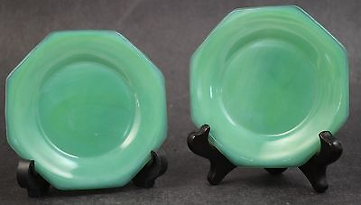 Vintage Art Deco Era Pair Green Jadeite Glass Octagonal Butter Pat Saucer Plates