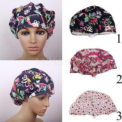 Men Women Printed Soft Cotton Medical Cap Surgical Hat Bouffant Scrub Cap
