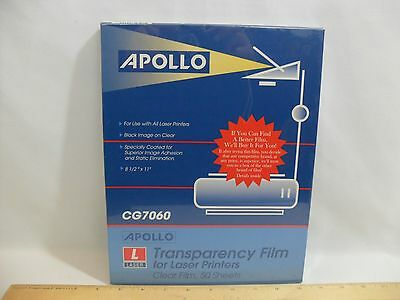 """NEW! APOLLO TRANSPARENCY CLEAR FILM FOR LASER PRINTERS 50 SHEETS CG7060 8.5""""x11"""""""
