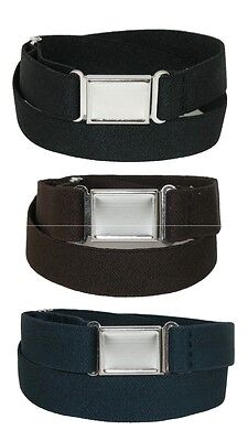 New CTM Kids' Elastic Stretch Belt with Magnetic Buckle (Pack of 3 Colors)