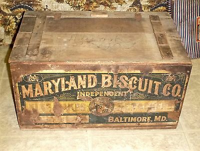 Vintage Wood Advertising Maryland BISCUIT Company Box W/Decal