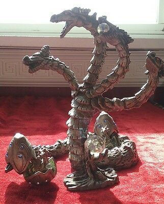 SUNGLO*DeNicolo~1991~Pewter & Crystal Hydra & SUNGLO 2004 Hatched Baby dragons!