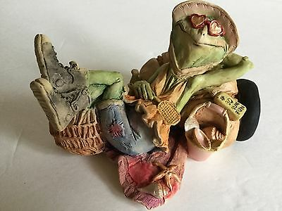 Vintage Jessica DeStefano TILLIE the FROG Catching a Few Rays Sculpture Figurine