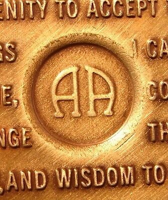 Alcoholics Anonymous 40 Year AA BACK Bronze Medallion Chip Coin Token Sobriety