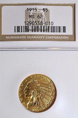1915 US Gold $5 Indian Head Half Eagle - NGC MS62 - Beautiful Coin!