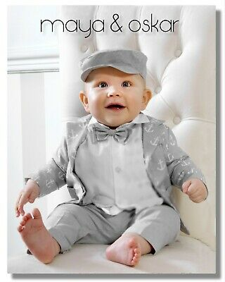 Baby Boy Grey Outfit Anchor Sailor Set Wedding Suit Christening Baptism Party