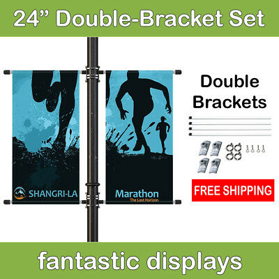 """24"""" Double Street Pole Banner Mounting Kit for Hemmed Banners with Pole Pockets"""