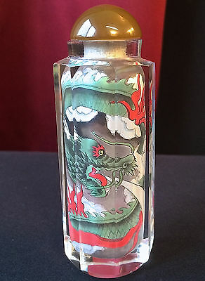 Vintage Chinese Crystal Reverse Hand Painted Dragon Snuff Bottle Signed