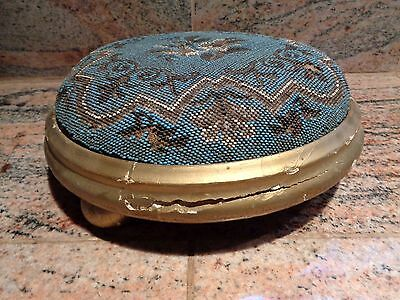 Antique Beaded Gold Gilt Wooden Base Foot Stool Foot Rest #2