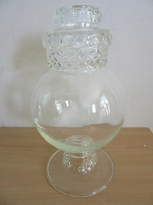 "Antique Large 15"" Dakota glass thumbprint Apothecary Candy store jar with Lid"