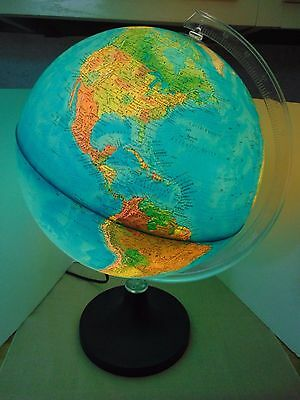 Vtg Rand McNally Lighted Globe 1982 Made in Italy Physical Political USSR