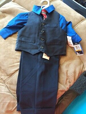NAUTICA Baby Boy / Toddler Suit 4 Piece Set Size 12 months ~ Navy Blue EASTER