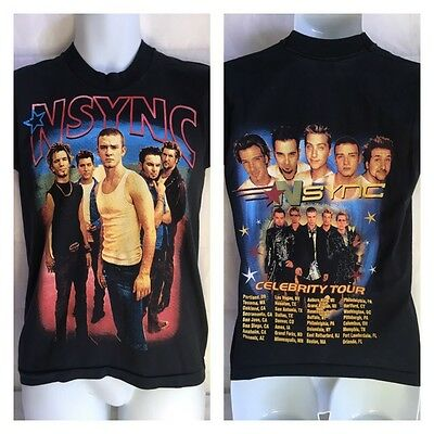 *NSYNC CELEBRITY TOUR -  S  BLACK Screen Stars 50/50 Made In USA Double Sided