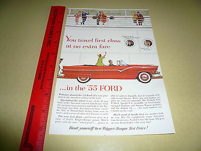 1955 Ford Convertible Ad Advertisement Vintage