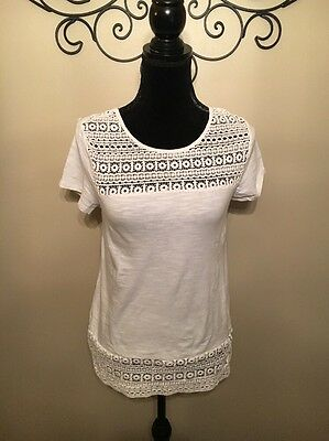 A Diva Women's White Lace Short Sleeve Shirt, Size: Small.