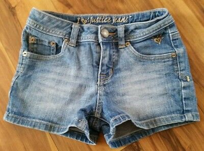 Justice girls simply low light wash denim jean shorts size 8