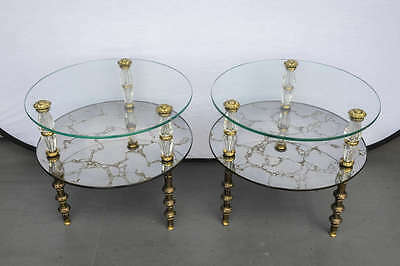 Hollywood Regency Mid Century Two-Tier Pair Of End Tables
