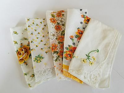 Vintage handkerchiefs set of 5 orange yellow floral lace embroidered  crafting