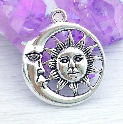 Set of 3 Antique Silver Moon and Sun Pendants Round Charms CH215