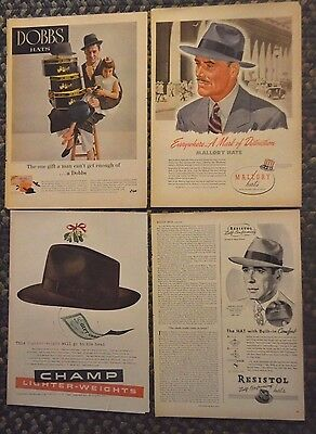 1940's 1950's Lot of 4 Hat ads Dobbs With Child Mallory Resistol Champ  10x14