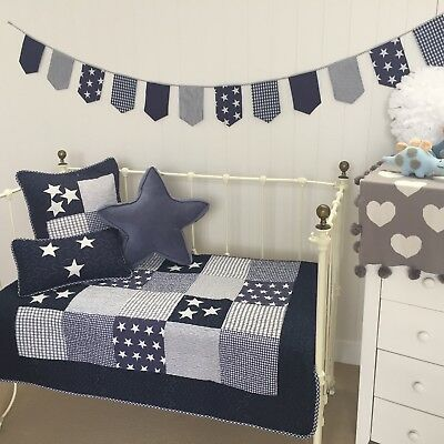 3 pce  Lachlan Navy Baby Boys Nursery Cot Quilt 2 Matching Cushions Coastal Boy