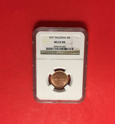 Palestine -UNC 1 Mil, 1927 ,CERTIFIED BY NGC MS 65 RED.....very nice coin.
