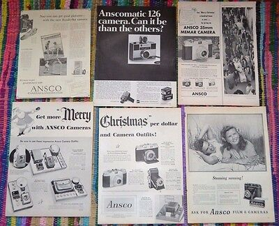 BIG LOT 5 1950's/1960's ANSCO CAMERA AMATUER PHOTOGRAPHY Vintage ads