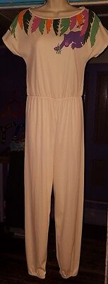Vtg 80's At Home Wear Sears Small Jungle Panther Funky Retro Jumpsuit Romper