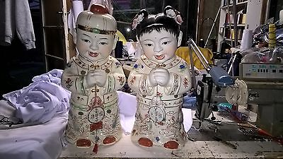 2 Antique Ceramic Chinese statues 50cm gong xi fa cai price drop ASAP must sell
