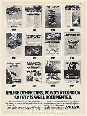 1989 Volvo Record on Safety is Well Documented 1961-1989 Advertising Print Ad