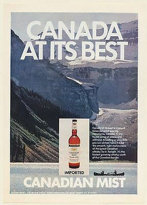 1972 Canadian Mist Whisky Canada At Its Best Tranquil Lakes Soaring Mountains Ad