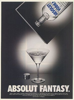2001 Absolut Fantasy Pouring Vodka From Advertisement Print Ad