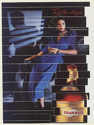 1986 Drambuie Liqueur Taste the Intrigue Lady Man Shadow Print Ad