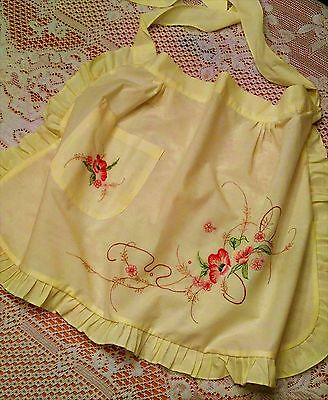 Vintage 50's 60's Cute Floral Embroidered Yellow Half Apron