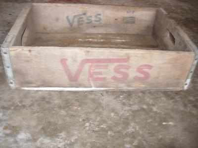 Vintage VESS Soda Wood Crate with Handles