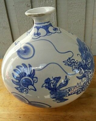 Antique 1900s Korean Collectable Porcelin  BLUE AND WHITE Dragons Vase Signed