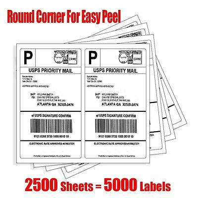 5000 Half Sheet Round Corner Shipping Labels Self Adhesive For Laser Inkjet USPS