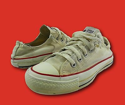 Vintage CONVERSE Cream Canvas Low Top Athletic Sneakers Sz 5.5/Wmns 7.5 USA Made